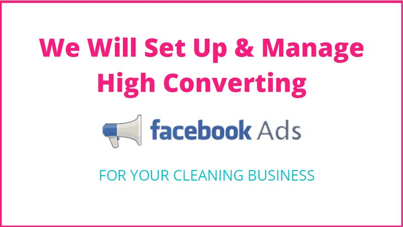 Facebook ads page for cleaning business